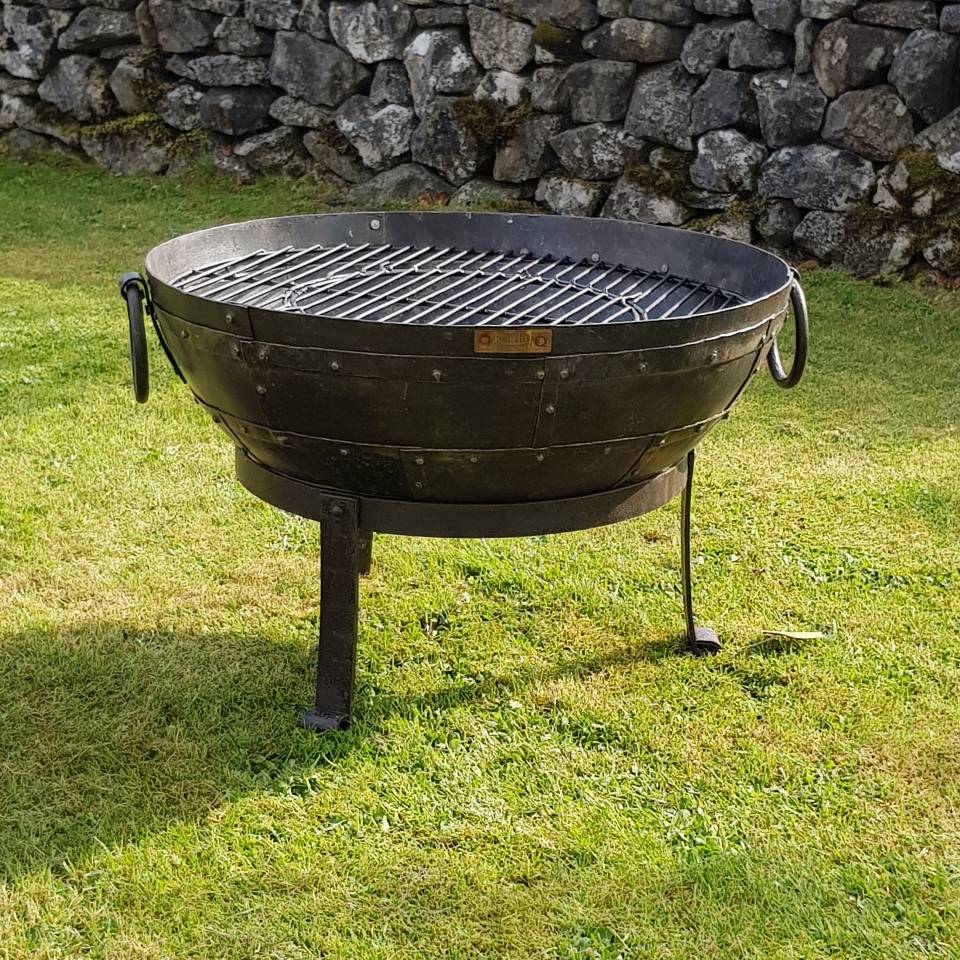 Recycled Kadai  Firebowl with Low Gothic Stand
