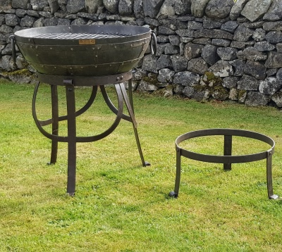 Recycled Kadai BBQ Fire Bowl with High & Low Gothic Stand