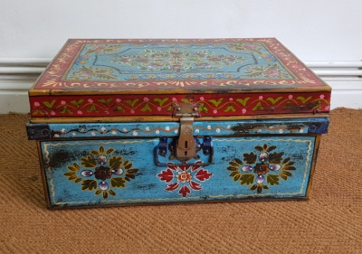Indian Hand Painted Metal Chest - ***SOLD***