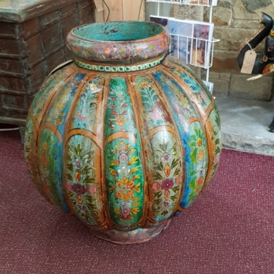 Hand Painted Large Iron 'Pumpkin' Base Urn - ***SOLD***