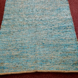 Turquoise Jute & Leather Rug