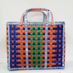 Large Mowgs Recycled Strapping Hand Woven Check Basket