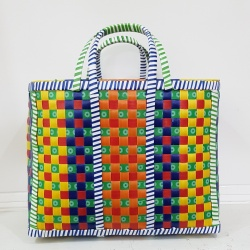 Medium Mowgs Recycled Strapping Hand Woven Check Basket