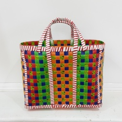 Small Mowgs Recycled Strapping Hand Woven Check Basket